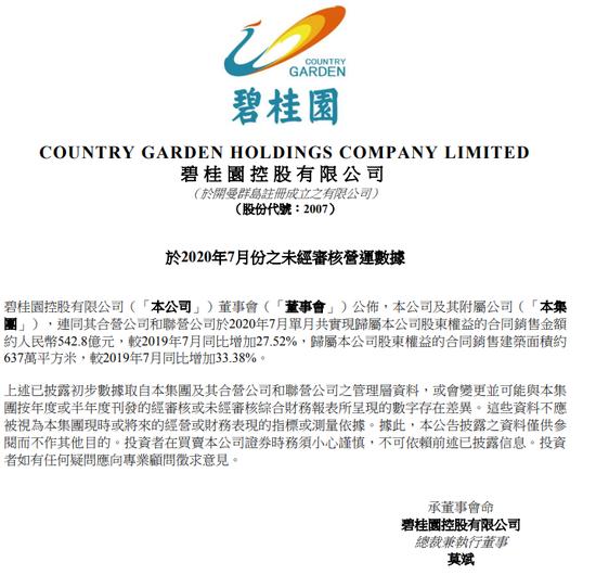 碧桂园7月合约销售额542.8亿元人民币 同比增长27%