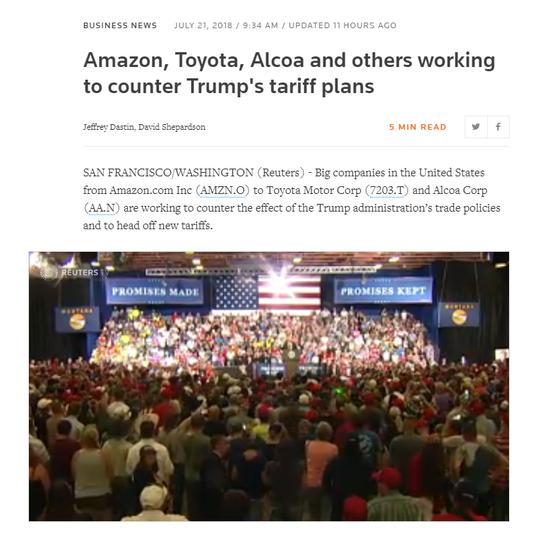 亚马逊、丰田和其他公司正努力对抗特朗普的关税计划