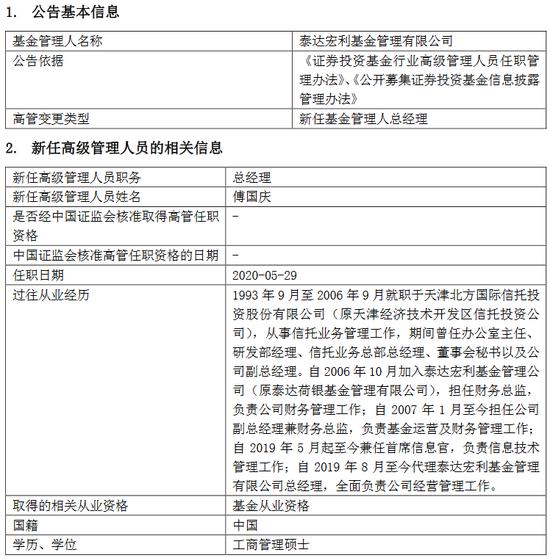 泰达宏利基金新任傅国庆为总经理