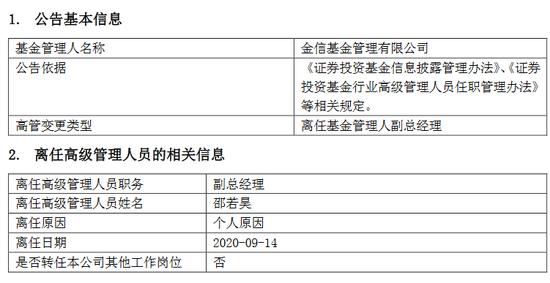 任职约2年15天 金信基金邵若昊因个人原因离任副总经理