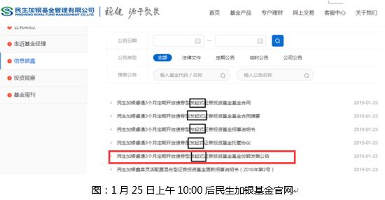 图:1月25日上午10:00后民生加银基金官网