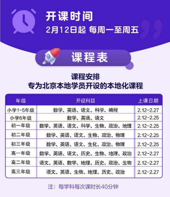 北京学而思向全北京中小学生免费提供校内同步在线课程