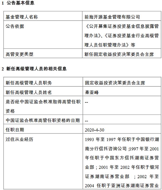 前海开源基金新任秦亚峰为固定收益投资决策委员会主席
