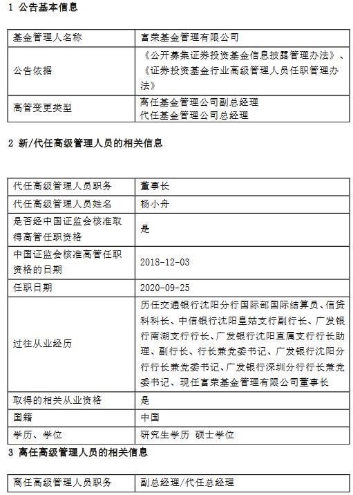 富荣基金李东育因个人原因离任副总经理、代任总经理