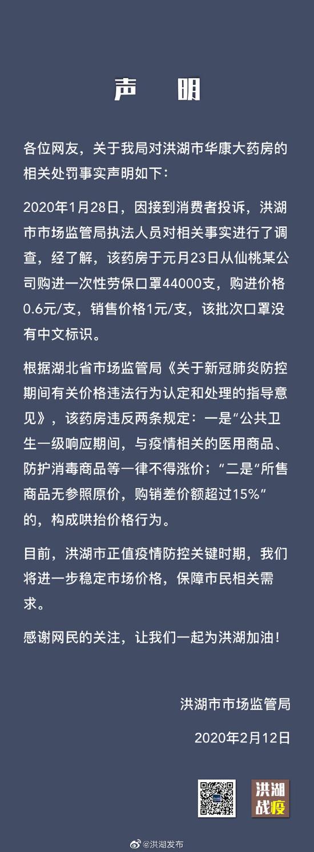 洪湖市监局回应6毛口罩卖1元罚4万:该药房违反规定