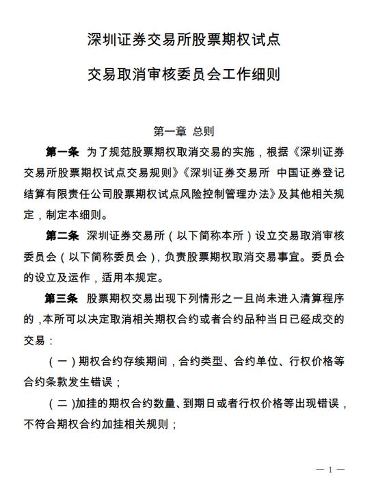 深交所发布股票期权试点交易取消审核委员会工作细则