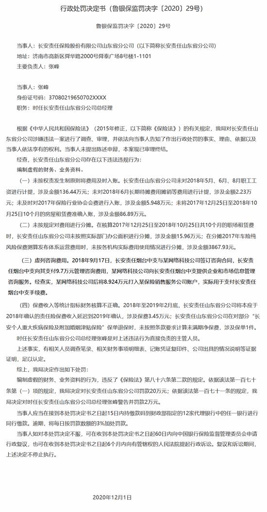 长安责任保险山东分公司被罚20万:编制虚假财务、业务资料