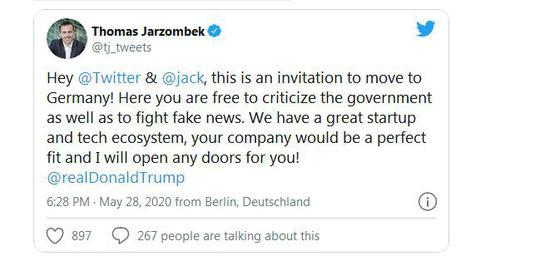 德国官员邀请推特将总部迁往欧洲