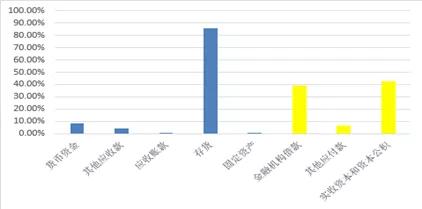图:某城投企业各科目占总资产和总负债比例