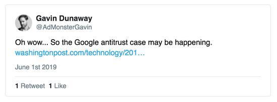谷歌逆垄断调查能够正在进走 @AdMonsterGavin