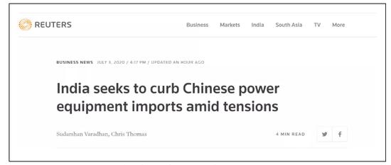 路透社:主要局势之下,印度追求遏制中国电力设备