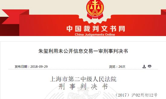 朱璽先后利用未公開信息買入75只股票  非法獲利1336萬元