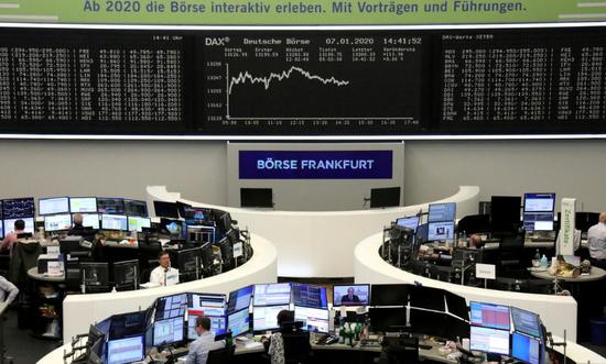 2020年1月7日,德国法兰克福证交所内做事场景。