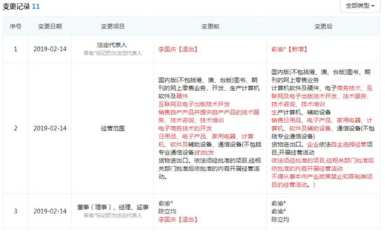 当当网法人工商信息变更 董事长俞渝接任