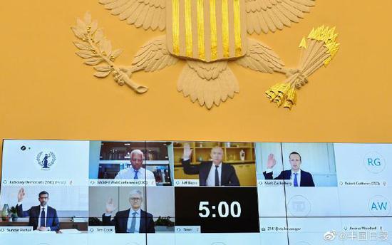 美国四大科技巨头CEO同时接受国会质询