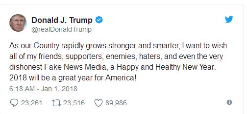 特朗普新年致辞:祝福所有人包括不诚实的媒体