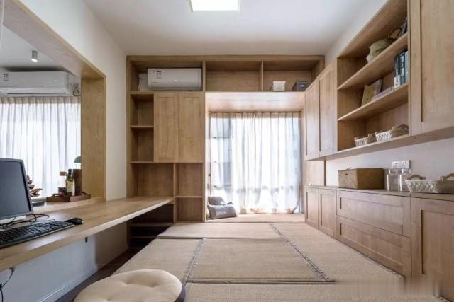 116平新房,沙发墙上开窗洞,个性通透,榻榻米书房最实用了!