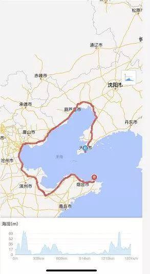 威海环�9��9�(y�-z)_父女二人7月3日从威海出发,他们用两台自行车完成了一趟环渤海湾之旅