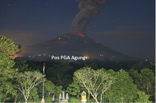 巴厘島阿貢火山再次噴發。(圖片來源:中國駐印度尼西亞登巴薩總領館網站)