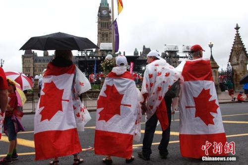 原料图片:添拿大联邦举走国庆庆典,民多身披添拿大国旗。中新社记者余瑞冬 摄
