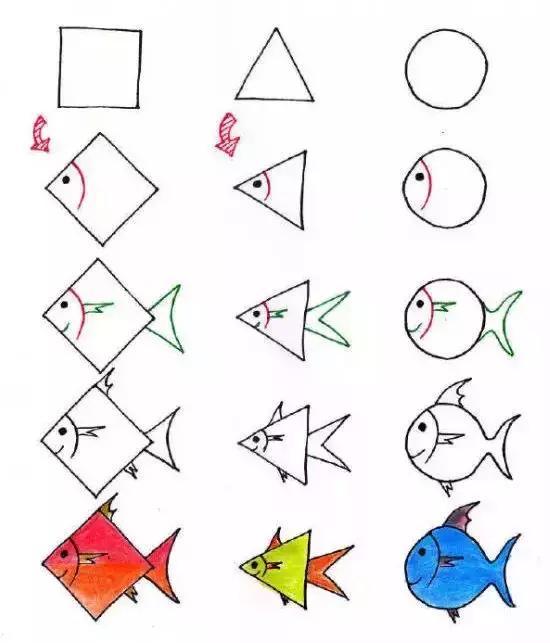 兒童簡筆畫:三種幾何平面圖形,輕松教孩子畫動物,顛覆圖片