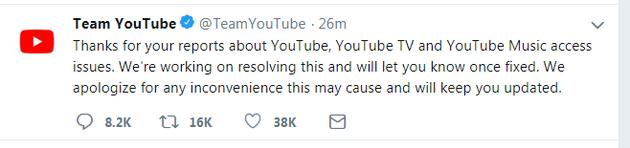 YouTube全球宕机 YouTube团队在Twitter发表了致歉声明