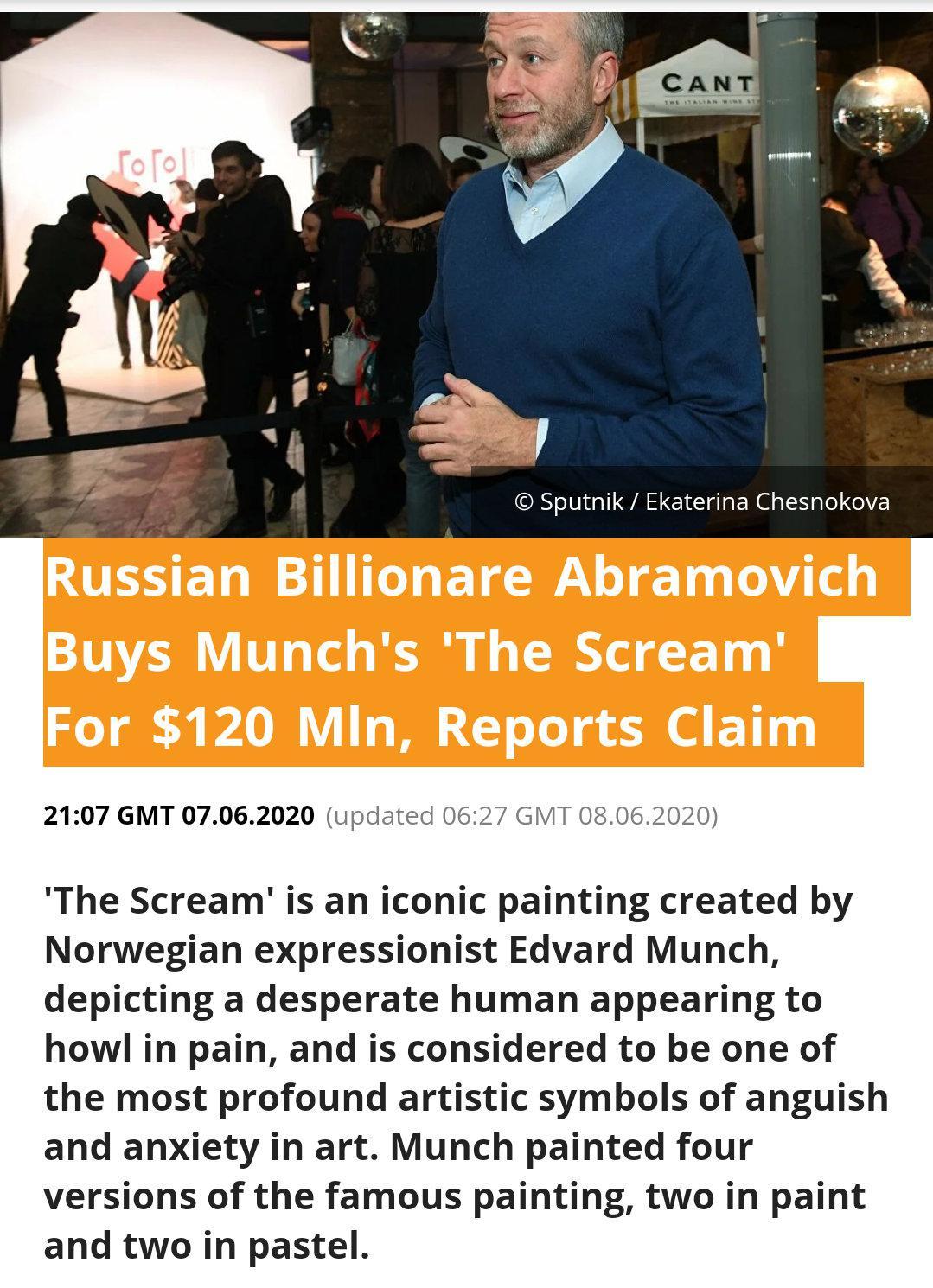 据国外媒体报道,切尔西老板阿布拉莫维奇花费1.2亿美元拍下蒙