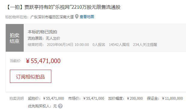 """贾跃亭所持""""乐视网""""股权拍卖最终流拍  多人围观却无人报名"""