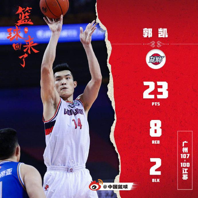 广州主帅点名表扬郭凯:他的上升空间还很大
