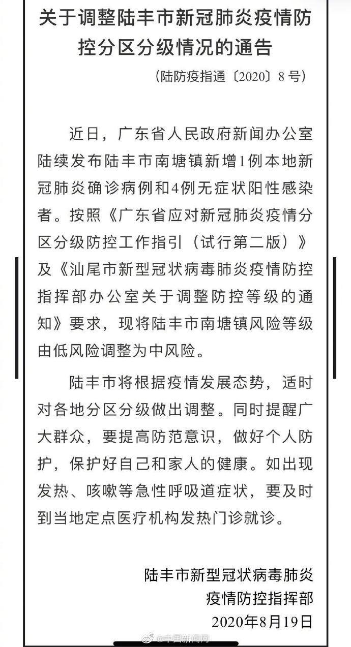 廣東陸豐市南塘鎮升級為中風險