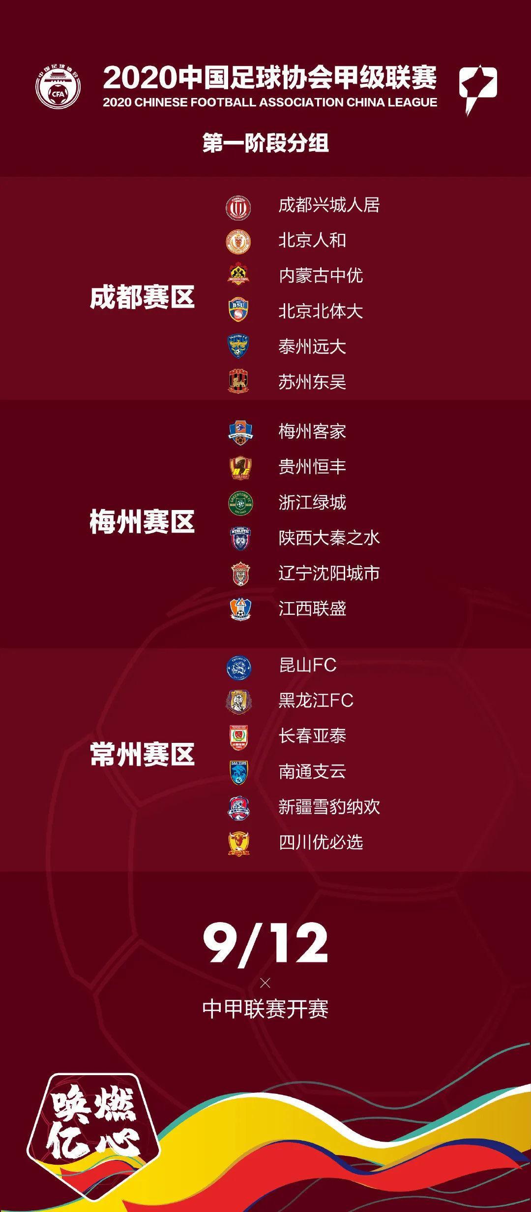 中甲联赛明确第二阶段赛制:实行单循环积分赛 总共5轮