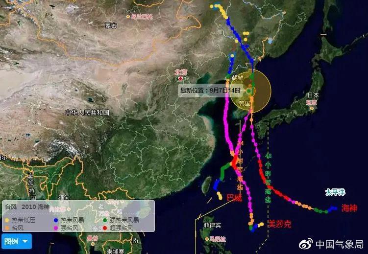 """2020年第8号台风""""巴威""""、第9号台风""""美莎克""""和第10号台风""""海神""""都是一路向北的路径。"""