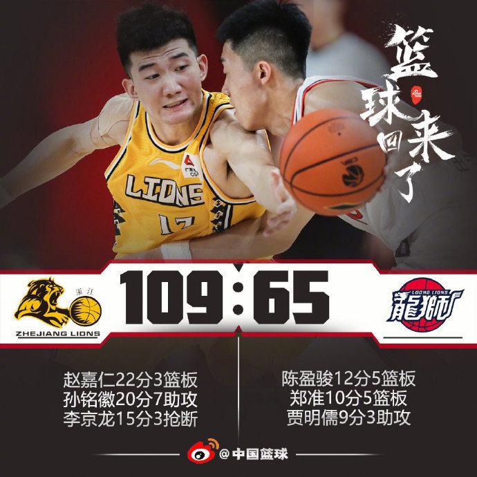 季前赛-孙铭徽20+7李京龙15分 广厦狂胜广州