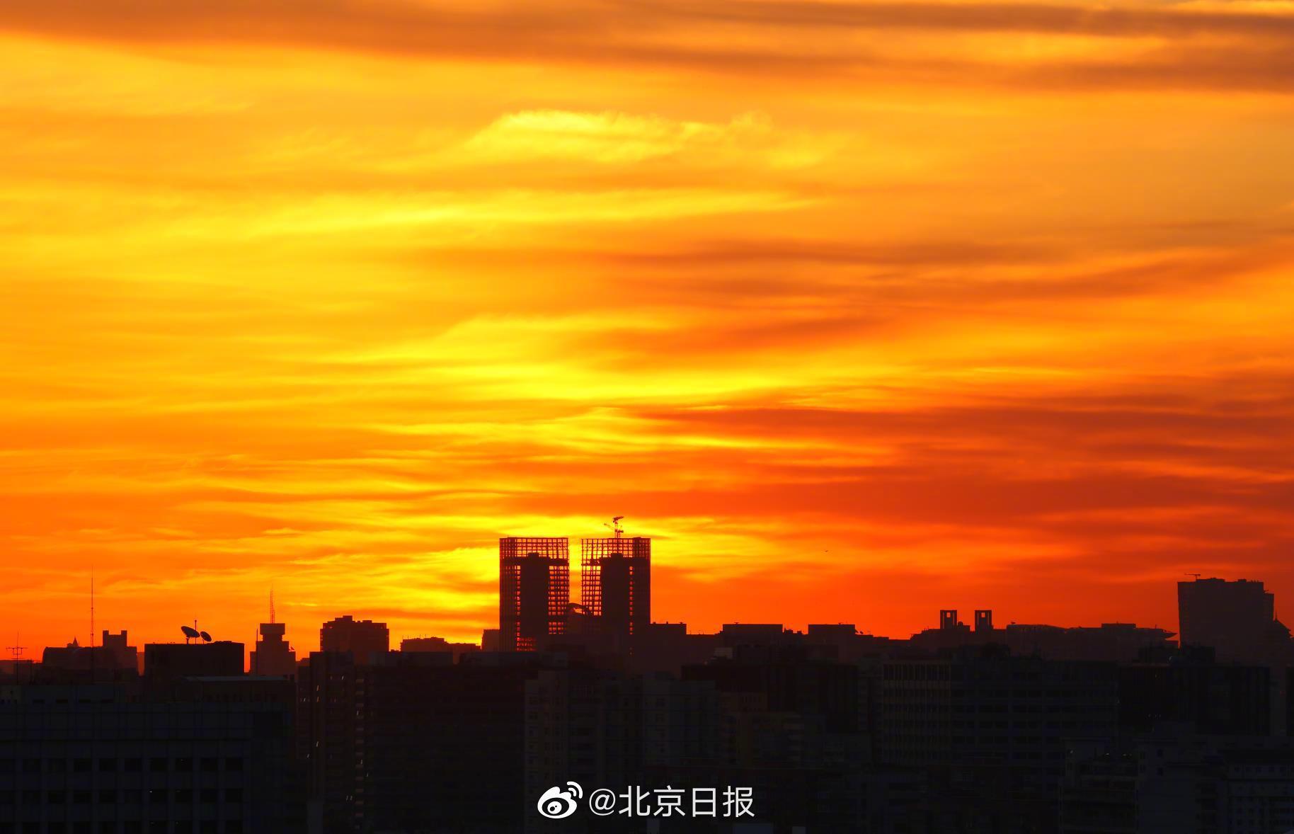 北京今晨又现绝美橘色朝霞(图)