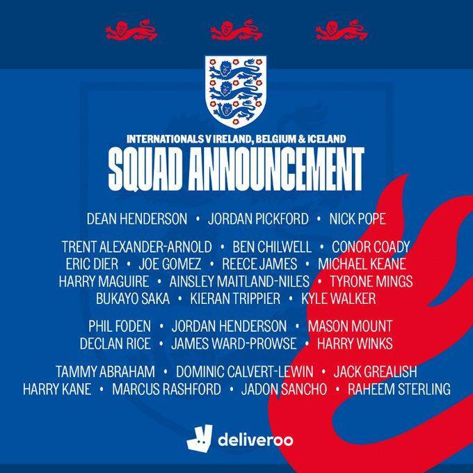 英格兰发布了最新一期国家队名单,凯恩领衔出战
