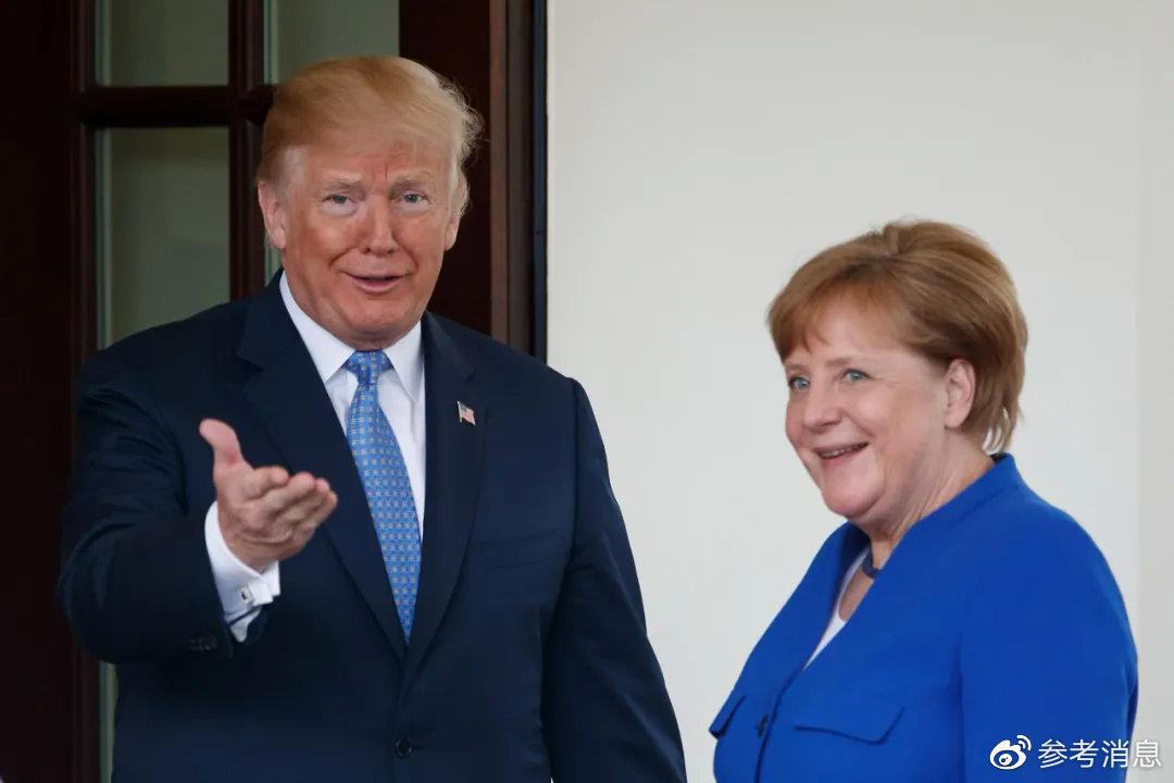 ▲资料图片:2018年4月27日,美国总统特朗普(左)在华盛顿白宫欢迎到访的德国总理默克尔。(新华社 沈霆 摄)
