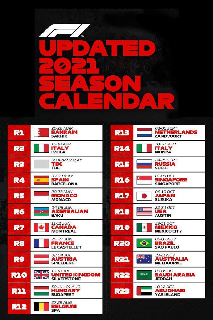2021赛季F1赛历更新