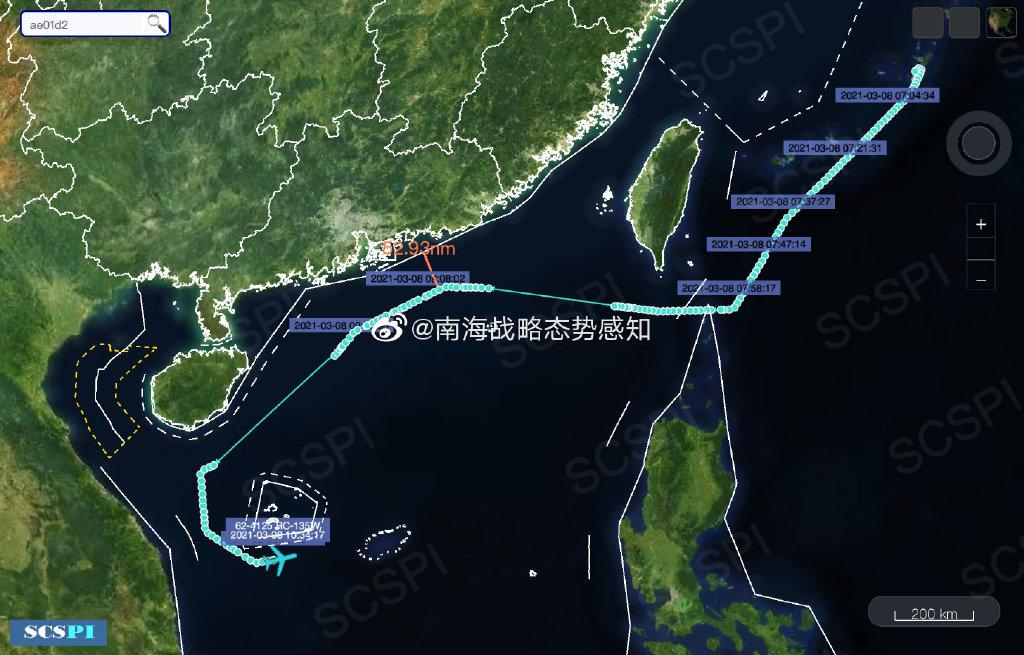 驻日美军侦察机飞赴南海活动 完整航迹图曝光(图)