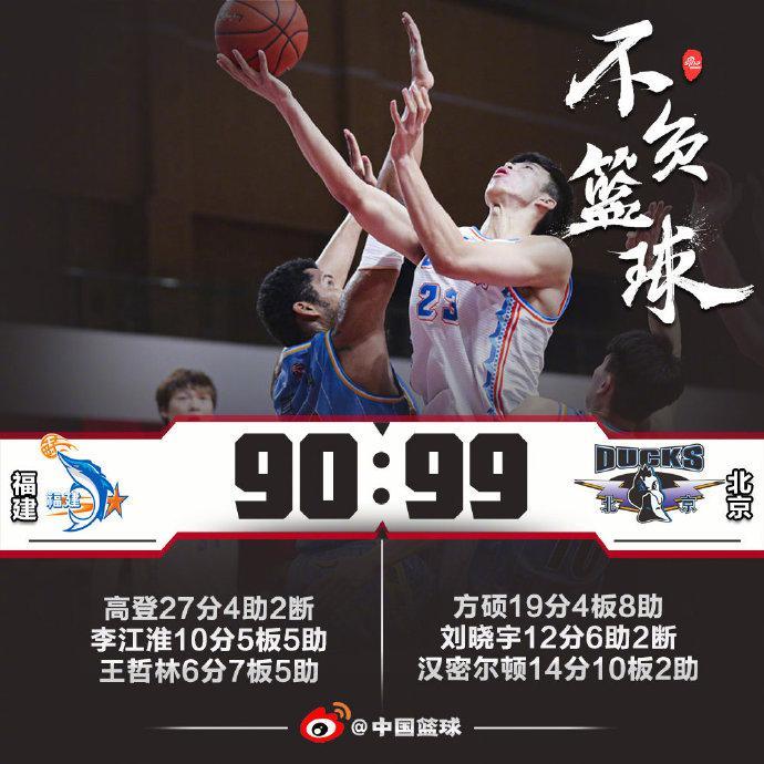 王哲林低迷仅6分方硕19+8 北京5人上双胜福建