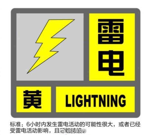 上海发布雷电黄色、暴雨蓝色预警