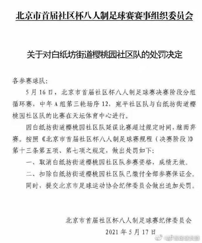 """【博狗体育】""""最强社区队""""被取消北京社区杯资格 成绩无效"""
