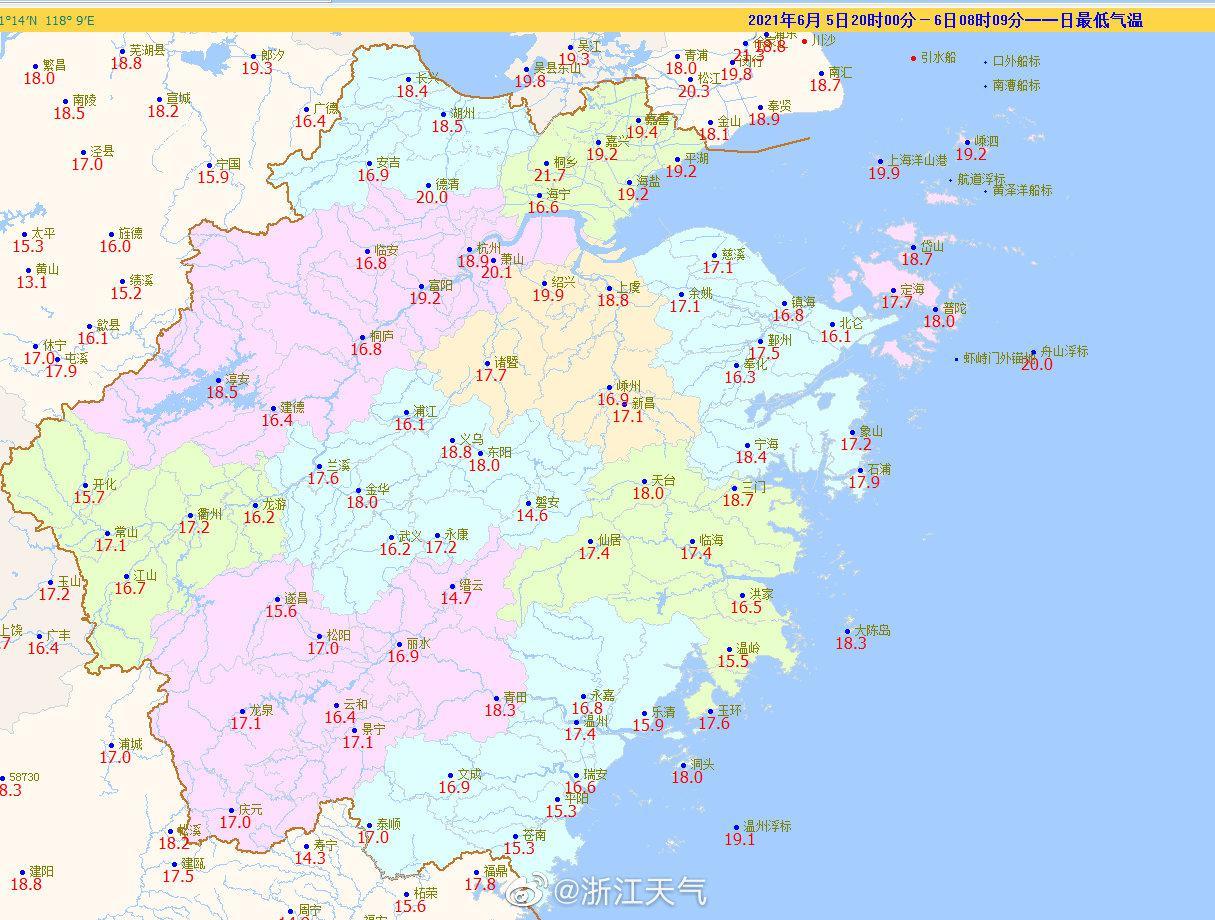 #6月#瞧这最低气温,其实早晚还是挺凉爽的,磐安、开化、平阳等