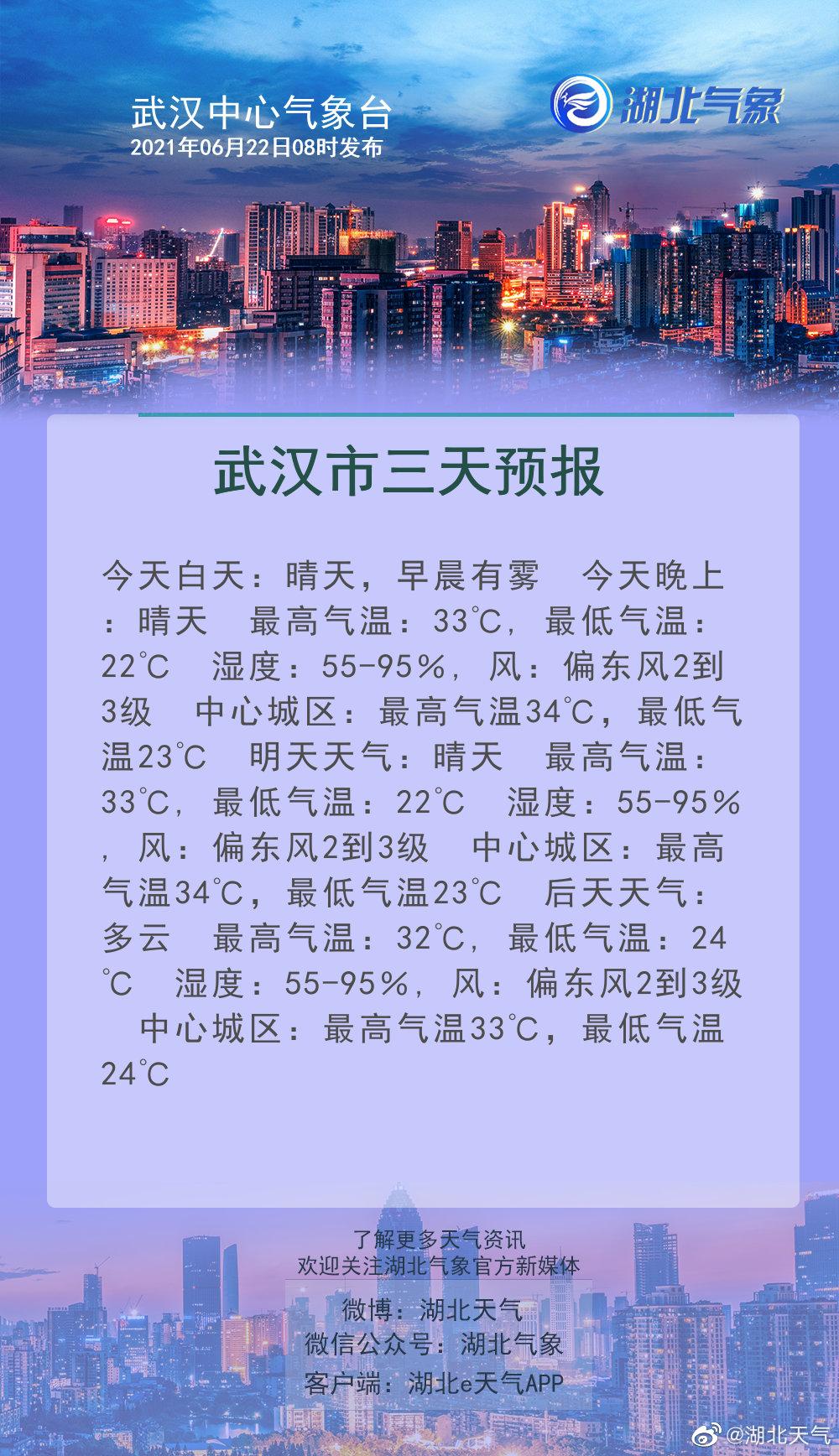 06月22日08时武汉天气预报