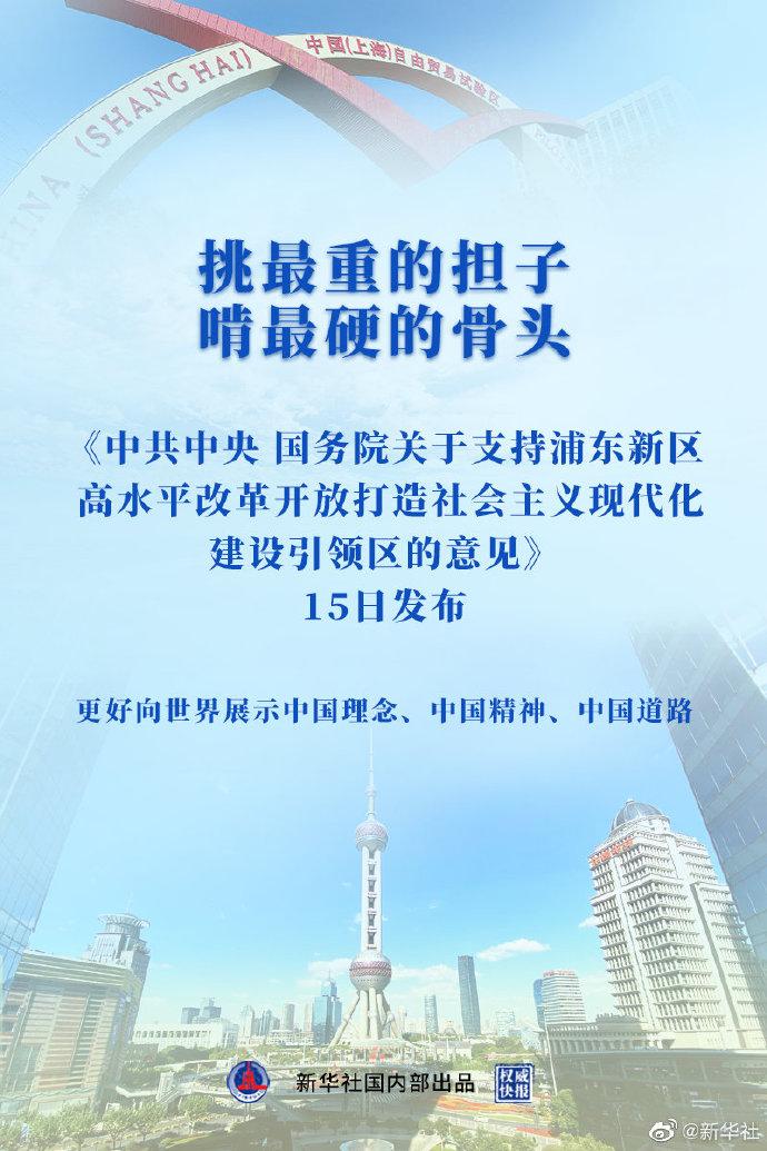 上海浦东新区将打造社会主义现代化建设引领区
