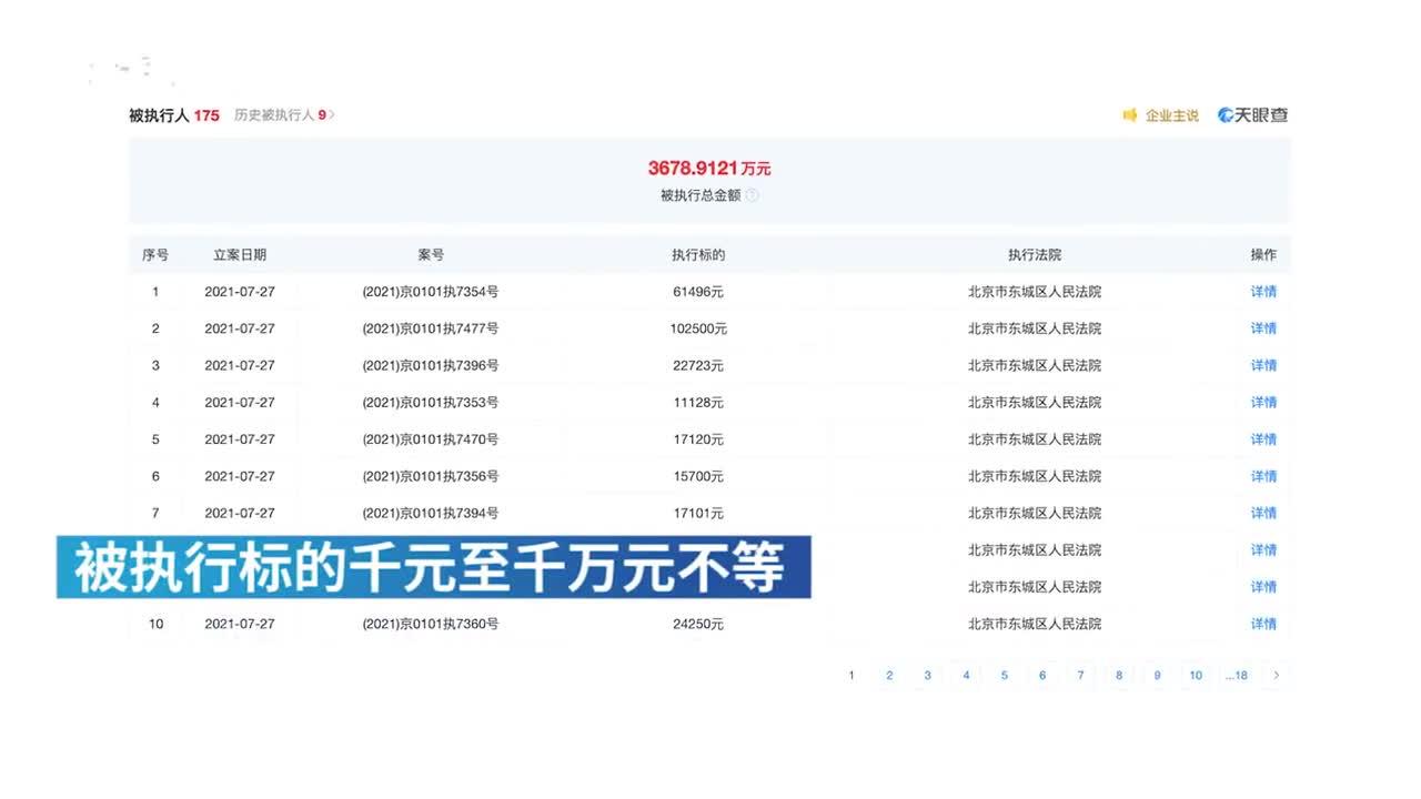 蛋壳公寓关联公司7月份以来新增百余条被执行人信息