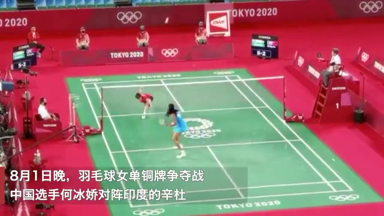中国选手何冰娇对阵印度的辛杜