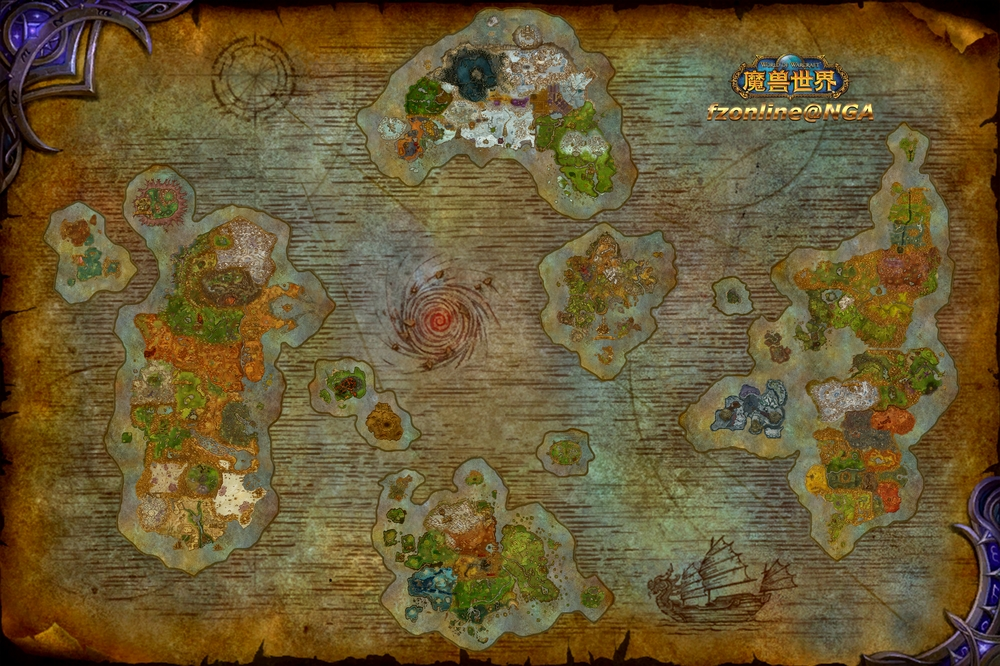 Composite map of all WoW zones, updated for 7.0