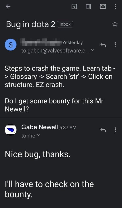 【蜗牛电竞】国外网友发现并报告bug G胖回信并承诺奖励