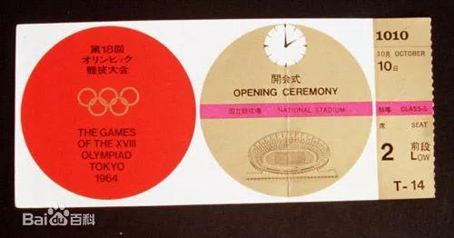 ↑ 1964年東京奧運會門票 ↑