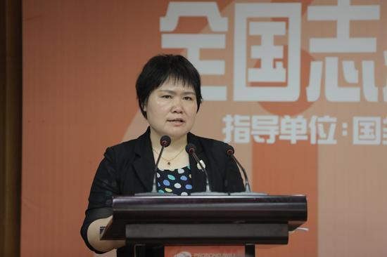 国务院扶贫办社会扶贫司副司长王春燕讲话。